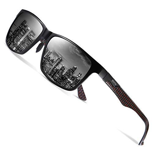 Duco Herren Polarisierte Sonnenbrille mit Rechteckig Metallrahmen und Kohlefaser Brille Beine UV400 CAT 3 CE 8206 (Rot Rahmen Schwarz Linse)