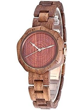 Redear Holz Uhr Herren Damen Natürliche Nussbaum Holz Armbanduhr Unisex Retro Holz Uhr Quarz Bewegung Geschenke...