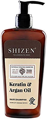 SHIZEN Keratin Argan & Oil Hair Shampoo / Essential vitamins /Care of your Hair /200ml/100% Org