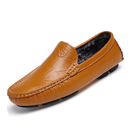 URBANFIND  Boat Shoes,  Herren Durchgängies Plateau Sandalen Yellow Fur-lined