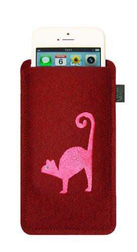 Filztasche für iPhone SE und iPhone 5/S, anthrazit, Motiv Katze, hochwertig bestickt und verziert mit Swarovski® Kristall; Filzfarbe bordeaux