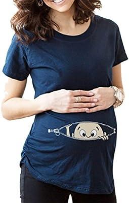 Laixing K41 - Camiseta de maternidad, diseño de bebé asomándose