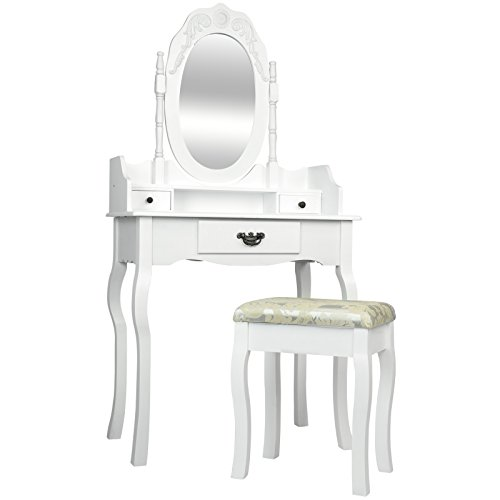 Miadomodo Dressing Table (3 Drawers) Adjustable Oval Mirror Baroque Style Cosmetics Make Up Bedroom Commode with Stool available in Black and White