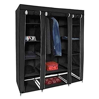 Harima - Hive Black Triple 3 Door Deluxe Canvas Wardrobe Garment Rail Bedroom Furniture Storage Organiser Foldable Lightweight Non-Woven Fabric Clothes Rail Cupboard with 5 Coat Hangers Included - inexpensive UK light store.