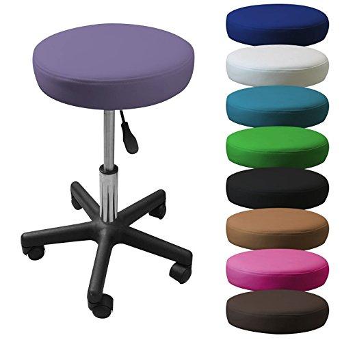 Linxor ® Taburete redondo con ruedas de altura regulable de 45 a 62 cm y 360 ° de giro - Nuevos colores - Norma NF EN 1022