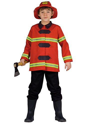 FIORI PAOLO-Bombero Disfraz Niño L (7-9 anni) rojo