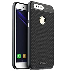 MVE(TM) Original IPaky FOR HUAWEI HONOR 8 Brand Luxury High Quality Ultra-Thin Dotted Silicon Black Back + PC GREY Frame Bumper Back Case Cover