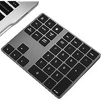 Ziffernblock JOYEKY Nummernblock Bluetooth/ Numpad Wireless mit Multi-Funktion, Aluminium 34 Tasten, kompatibel mit Windows, Android, iOS für PC, Notebook, Schwarz