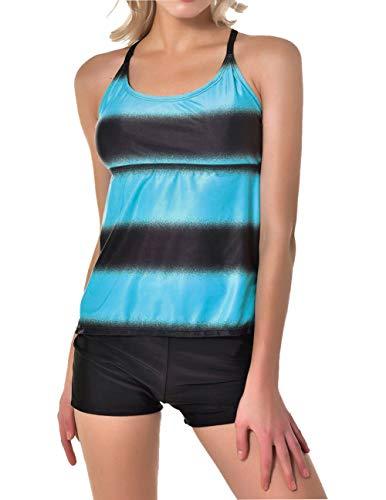 FEOYA Große Größen Damen 2 Stück Racerback Tankini Set Sommer Tribal Mode Druck Push Up Bikini Set Swimwear mit Shorts Blau 2XL -