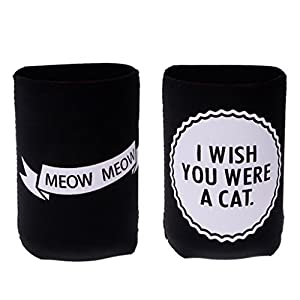 "41rK1sdpcyL. SS300  - Sharplace ""I WISH YOU WERE A CAT, MEOW MEOW Set Funny Stubby Beer Tin Can Cooler Sleeve Wedding Party Accessories"