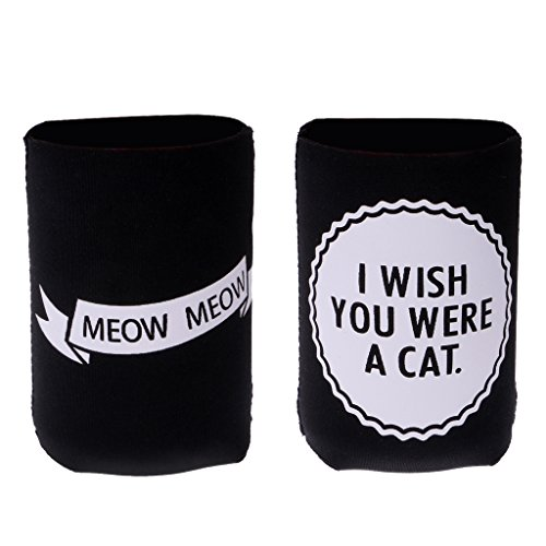 41rK1sdpcyL. SS500  - Sharplace I WISH YOU WERE A CAT, MEOW MEOW Set Funny Stubby Beer Tin Can Cooler Sleeve Wedding Party Accessories