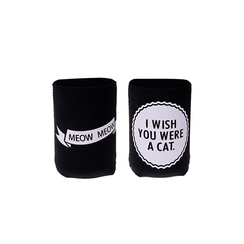Sharplace I WISH YOU WERE A CAT, MEOW MEOW Set Funny Stubby Beer Tin Can Cooler Sleeve Wedding Party Accessories