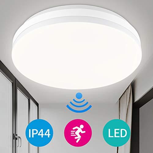 LED Deckenleuchte mit Radar Bewegungsmelder Innen 15W 4000K, IP44 Wasserdicht Rund Deckenlampe für Flur, Treppe, Veranda, Garage, Carport, Balkon, Abstellraum, Keller