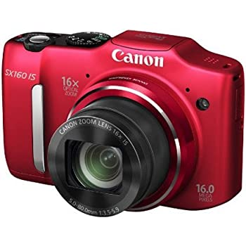 Canon PowerShot SX160 IS 16MP Point-and-Shoot Digital Camera (Red) with SDHC Card, Camera Case, Battery Charger