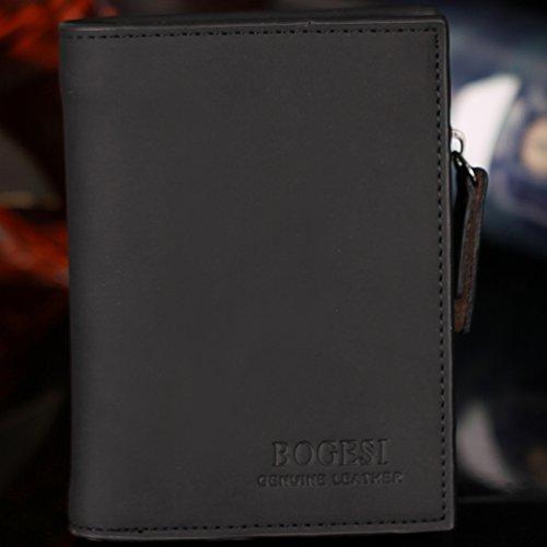 Bogesi-Herren Secretary Brieftasche Mit Reißverschluss Münztasche Mini Karte Halter Schwarz schwarz