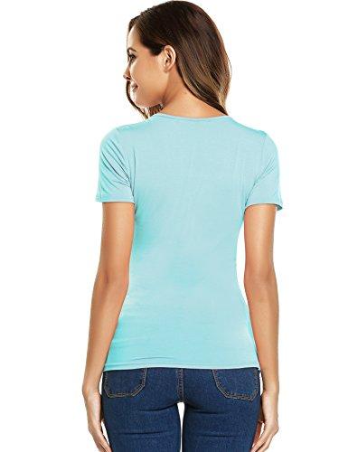 2ab6b07595e12e ... Beyove Damen Sexy V-Ausschnitt Wickelshirt Kurzarm Langarm Slim Fit  Shirt Bluse Obertail mit ...