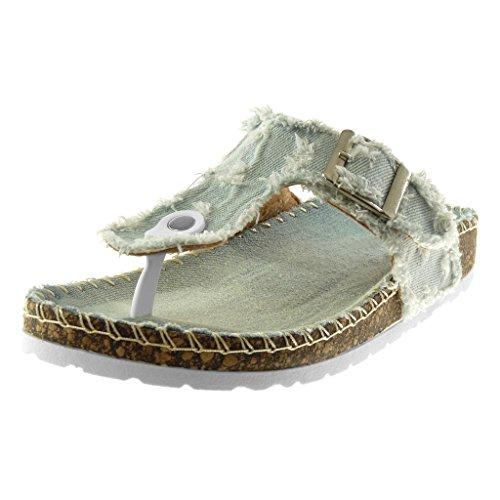 Angkorly Scarpe Moda Sandali Infradito Slip-On Jeans Denim Donna sfilacciato Strappati Fibbia Tacco Zeppa 2.5 cm Azzurro