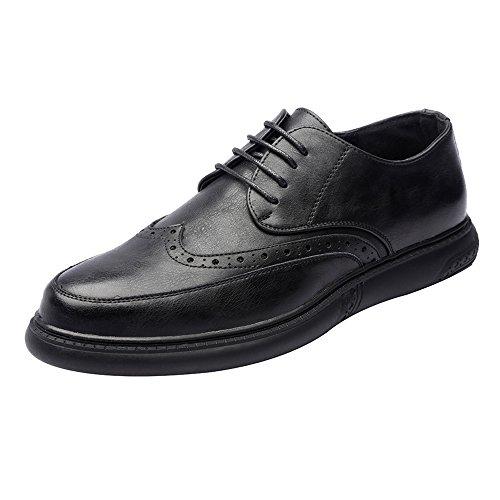 Sunny&baby mocassini eleganti con lacci da uomo scarpe da ufficio in vera pelle casual traspirante resistente all'abrasione ( color : nero , dimensione : 44 ue )