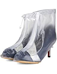 Oriskey 1Paar Regenüberschuhe Wasserdicht Schuhe Abdeckung Stiefel High Heels Pumps Regen Überschuhe Regenkombi Schuhüberzieher Rutschfestem für Damen Mädchen