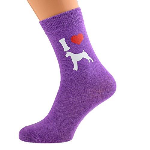 I Love Boxers Dog Ladies Socks Purple UK 4-8 EUR 37-41 US 6-10 (X6N091)