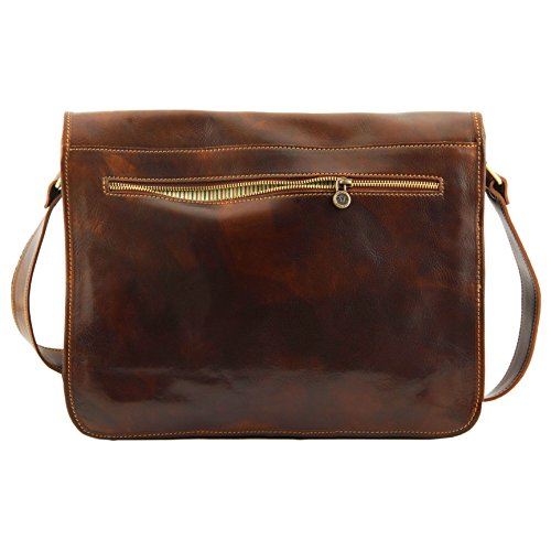8904754 - TUSCANY LEATHER: MESSENGER DOUBLE - BESACE EN CUIR, noir marron