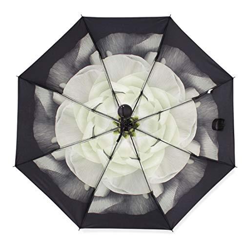 Blume Wasser Gardenia (Ofliery Kreatives Wasser, Blume, DREI Falten, verdickter, schwarzer Plastikschirm (Color : Gardenia))