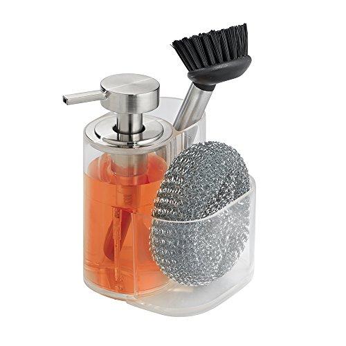 mDesign Seifenspender wiederbefüllbar – Pumpseifenspender mit Halter für Schwamm, Tropfkratzer und Spülbürste – durchsichtig/gebürstet