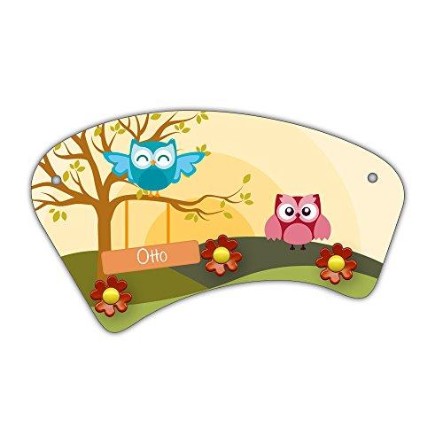 Wand-Garderobe mit Namen Otto und schönem Eulen-Motiv für Jungs - Garderobe für Kinder - Wandgarderobe