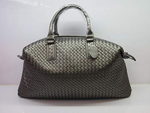 Bag-Haigeen Frauen gewebt Leder Cabrio Tasche Tote Doppel Griffe große Crossbody Handtaschen Silver Grey