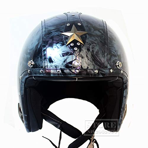 Erwachsene Retro Leder Pilot Motorrad Helm Fiberglas 3/4 Open Face Cruiser Chopper Roller Helm Jahreszeiten Universelle Sicherheit Stadt Cafe Racer Elektrische Fahrrad Sicherheitskappen -