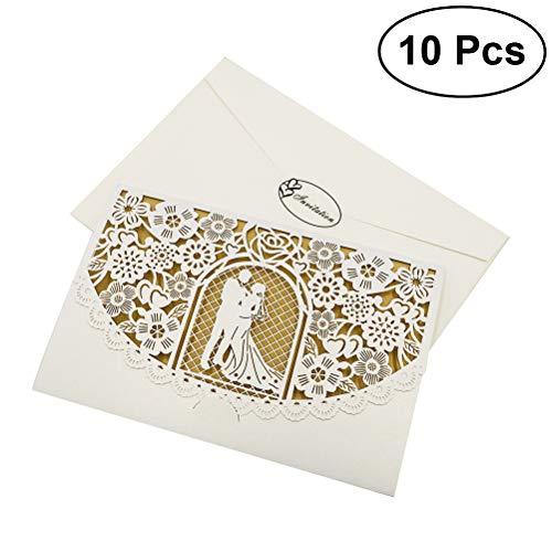 Toyvian 10 pezzi hollow out square invito a nozze con fiori intagliati fidanzamento propone biglietti d'invito (invito + carta d'oro beige + busta + sigillo, d056, bianco)
