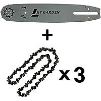 GT Garden Guide 10 Pouces (26 cm) avec Lot de 3 chaînes 40 maillons pour tronçonneuse élagueuse 25 cm3