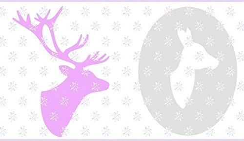 Bordüre mit Hirsch in Bilderrahmen Taupe und Flori pink, weiß und pink. Oh Die Die 66294032