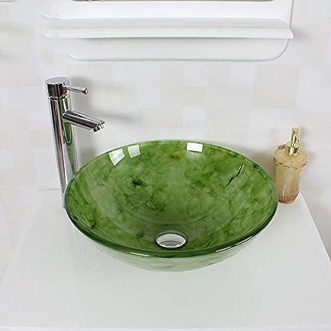 Faux Jade Jadeit gemustert gehärtetem Glas Waschbecken Wasserhahn Set