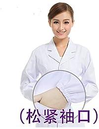 ESENHUANG Abrigo Blanco Vestido De Médico De Manga Larga Vestido De Médico Femenina Abrigo Blanco Manga