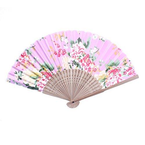 Flower Gedrukt Bamboe Ribs Portable Folding Fan 21cm lang (21 Rib)
