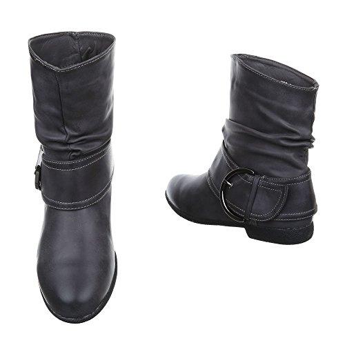 Ital-Design Komfort Stiefeletten Damen Schuhe Schlupfstiefel Blockabsatz Schnallen Deko Stiefeletten Grau