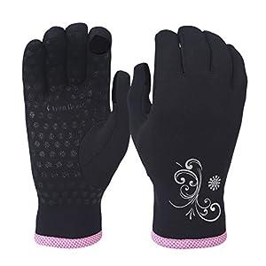 TrailHeads Power Stretch Damen Laufhandschuhe – schwarz/rosa