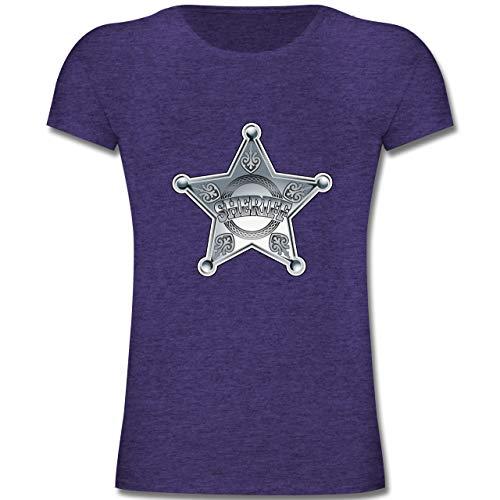 Karneval & Fasching Kinder - Cowboy Sheriff Karneval Kostüm - 128 (7-8 Jahre) - Lila Meliert - F131K - Mädchen Kinder T-Shirt (Gruppe Kostüme Für Teenager-mädchen)