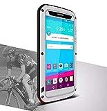 Case for LG G4, LOVE MEI Brand Waterproof Shockproof Dustproof Aluminum Metal with Built-in Gorilla Glass Screen Protector Silver *Two-Years Warranty*