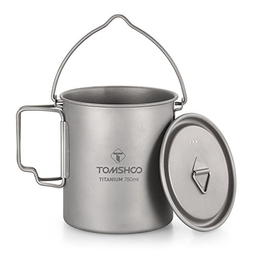 TOMSHOO Ultralight 750ml Titanium Pot Portable Titanium Water Mug Cup with Lid and Foldable Handle Outdoor Camping Cooking Picnic (1)