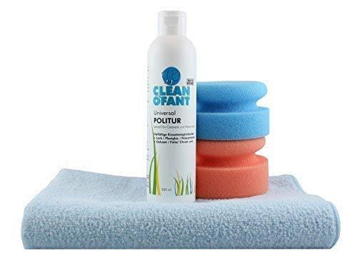 CLEANOFANT Universal-POLITUR Set - für die Handpolitur von Wohnwagen, Wohnmobil, Caravan. Kratzer entfernen/aus polieren