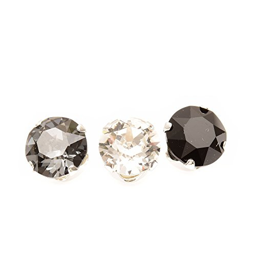 pewterhooter Men's 925 Sterling Silver stud earrings handmade with Black Diamond crystal from SWAROVSKI® BXVUUE7xc