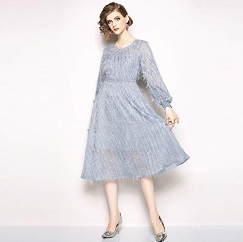 QUNLIANYI Bendkleid Tüll Lang Kleid Elegante Quaste Feder Kleid Sexy Formale Party Runway Langarm O Hals Casual Mesh Kleid XXL Sky Blue (Royal Blue Formal Kleider)