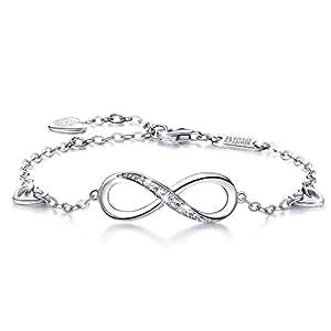 925 Argent fin Bracelet infini - Billie Bijoux damour sans fin Symbole Bracelet réglable avec charme pour Femme la fête des mères (1-silver)