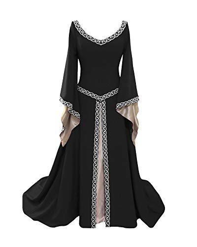 Liangzhu Damen Langarm Mittelalter Kleid Gothic Viktorianischen Königin Kostüm V-Ausschnitt Prinzessin Renaissance Bodenlänge Mehrfarbig Kleider Schwarz ()