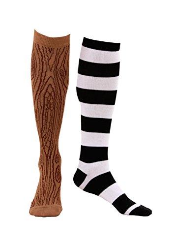 Kniestrümpfe Pirat mit Holzbein und gestreifter Socke für Erwachsene - One Size -