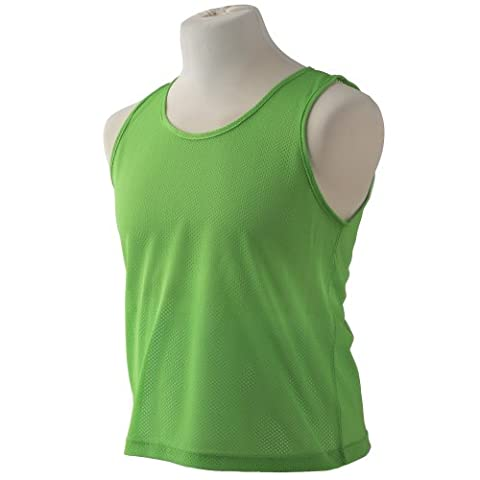GREEN ADULTS TRAINING BIBS FOOTBALL, RUGBY, SOCCER, HOCKEY PACK OF 10
