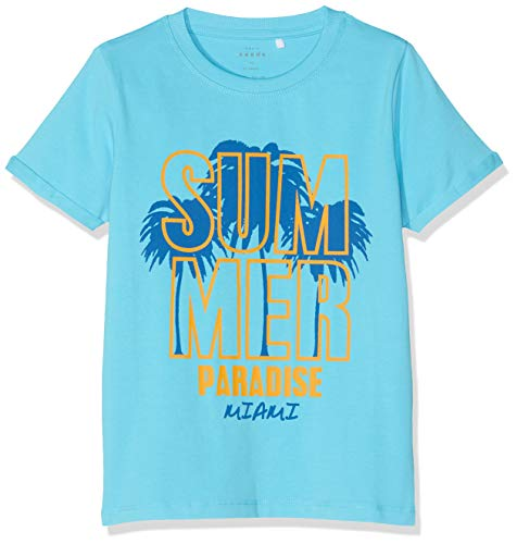 NAME IT Jungen NKMVUX SS TOP H T-Shirt, Türkis (Bachelor Button), 134 (Herstellergröße: 134-140)