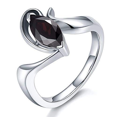 RKWEI Ringe Für Geheimnisvoller Schwarzer Granat Ring Massiv 925 Sterling Silber Ring Marquise Cut Gems Damen Schmuck 7 (Granat Ring Silber Ewigkeit)